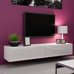 Tv stands and entertainment centers floating tv stand tv stand under wall mounted tv tv wall Living Room Tv Unit, Living Room Furniture, Living Room Decor, Hanging Furniture, Tv Furniture, Furniture Storage, Furniture Outlet, White Furniture, Online Furniture