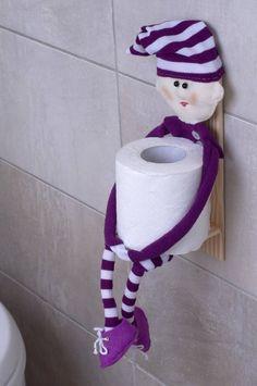Toilet roll holder hanging shelf Textile Doll Toilet tissue holder Bathroom organiser Toilet paper H Toilet Roll Holder, Towel Holder, Quilling Paper Craft, Paper Crafts, Paper Roll Holders, Paper Puppets, Marionette, Doll Food, Hanging Shelves