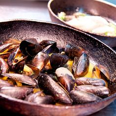 Fresh mussels at the Flying Fish restaurant, Falmouth