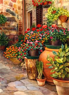 Home tips decoration tutorials 28 Ideas for 2019 Beautiful Gardens, Beautiful Flowers, Mexican Art, Pictures To Paint, Beautiful Paintings, Container Gardening, Flower Art, Amazing Art, Watercolor Paintings
