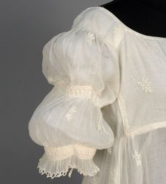 Regency style in delicate muslin (probably Bengali) having allover sprigged Broderie Anglaise, short sleeve with thre. 1800s Fashion, 19th Century Fashion, Vintage Fashion, Women's Fashion, Vintage Outfits, Vintage Dresses, Victorian Dresses, Historical Costume, Historical Clothing