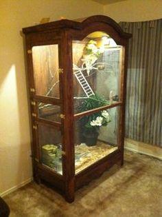 Armoir repurposed into aviary