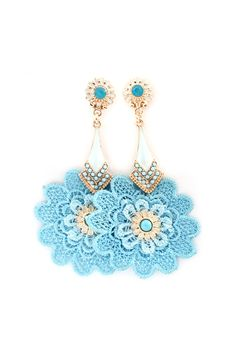Crochet Doilies Statement Earrings on Emma Stine Limited