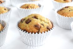 Mom's Banana Chocolate Chip Muffins are soft, loaded with chocolate, and super easy to make!