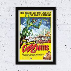 1957 The Deadly Mantis // The Day That Engulfed The World In Terror! // High Quality Fine Art Reproduction Giclée Print // Vintage Poster by WiredWizardWeb on Etsy