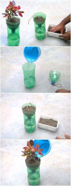 Self Watering System For Plants Using Waste Plastic Bottle - Jill Scofield - HOME Garden Ideas With Plastic Bottles, Reuse Plastic Bottles, Plastic Bottle Crafts, Bottle Garden, Diy Bottle, Glass Garden, Diy Garden Projects, Garden Crafts, Diy Crafts