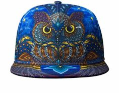 Swag HipHop Snapback Baseball Cap 3D Printing Owl Character Hat Fashion  Skater Bboy Flat Cap Blue bone masculino Gorras Men 8bfc8c54f8e7