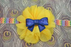 Back to School chevron headband with yellow flower and royal blue sequin bow on Etsy, $8.50