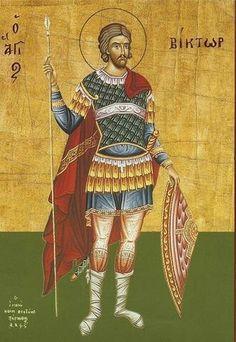 Saint Victor of Damascus Orthodox Icons, Samurai, Saints, Wonder Woman, Baseball Cards, Superhero, Movie Posters, Painting, Fictional Characters