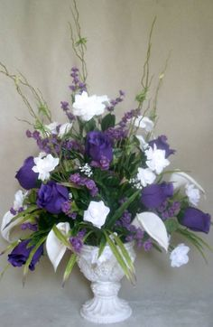 , White & Purple Roses Silk Flower Floral Arrangement / Centerpiece