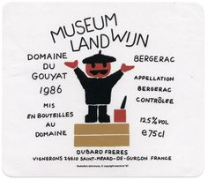 """""""MUSEUM LANDWIJN"""" Wine Label, 1986"""