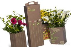 This packaging design uses colors that reminds of natural colors such as brown and green. Good color choices for flower packaging.