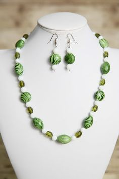 Multi Green and White Glass Beaded Necklace and Earrings - Bead Jewelry Set - Glass Jewelry on Etsy, $24.00