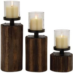 3 Piece Classy Wood Glass Metal Candle Holder Set Reviews (100 CAD) ❤ liked on Polyvore featuring home, home decor, candles & candleholders, candles, decor, wood home decor, glass home decor, glass candle, metal home decor and set of 3 glass candle holders