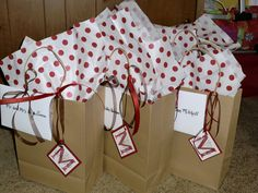 Here are a few of the gift bags we made for our out of town guest.  We delivered these to the hotel a few days before.