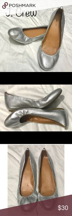 J. Crew silver flats J. Crew silver flats.  Adorable, fitted silver flats.  Very comfortable!  EUC - Minor normal wear.  No scuffs (except very minor at bottom of heel), holes or rips J. Crew Shoes Flats & Loafers