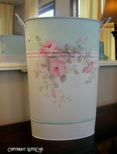 Flower Sap can bucket for flowers painting on vintage pail. by WitsEnd via Etsy.  SOLD ~ <3 K8 <3 ~