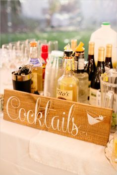 Cocktails Wedding Sign with Martini Glass, Wedding Signs Wedding Signs, Wedding Reception, Wedding Day, Diy Wedding, Beer Brewery, Stain Colors, Special Day, Martini, Vodka Bottle