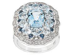 Sky Blue Topaz Sterling Silver Ring 5.80ctw