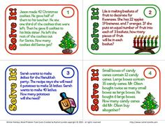 FREE - multi-step word problem task cards for Christmas, Hanukkah, and Kwanzaa! Fun and challenging.