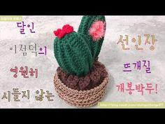 독학 코바늘 왕초보 선인장 만들기 1 crochet cactus - YouTube