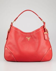 ShopStyle: PradaDaino Leather Hobo Bag