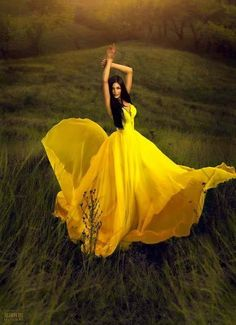 Yellow Dress portrait in a field with full length full gown.
