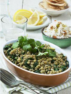 Groene linzen met spinazie en notenrijst #linzen #spinazie #recept