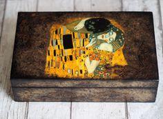 Gustav Klimt the Kiss Box Wooden Jewelry Box by TwoCatsAndAnOwl