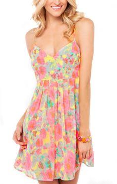 So Cute! Aqua Pink Yellow Print V-neck Spaghetti Strap Chiffon Beach Dress #Colorful #Beach_Dress #Fashion