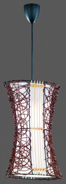 3166 - TRIO - závesná lampa - ratan+textil