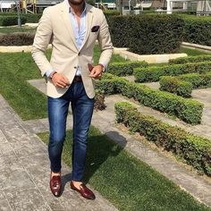 "533 Likes, 8 Comments - Sophisticated Sir (@sophisticatedsir) on Instagram: ""Beige Blazer + Denim Jeans. Everything a #SophisticatedSir should be!"""