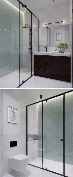 In this modern bathroom floor-to-ceiling light green tiles add a soft touch of color to the otherwise black white and wood interior. In the black framed glass enclosed shower there& hidden lighting to add a calming glow to the bathroom. Bathroom Renos, Bathroom Flooring, Small Bathroom, Bathroom Black, Bathroom Ideas, Bathroom Wall, Bathroom Vanities, Bathroom Colors, Light Bathroom