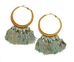 Orecchini boho chic a cerchio dorati con pendenti, regalo per lei - Golden circle earrings with pendant, gift for her di ArtMadeBijoux su Etsy