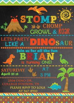 Dinosaur Invitation Dinosaur Birthday by StardustPartyPrints