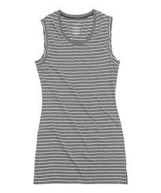 Heather Gray Stripe Sleep Lounge Dress  - Plus Too