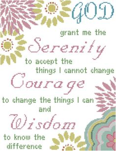 Serenity Prayer Cross Stitch Pattern with Large, Brightly Colored Modern Florals by oneofakindbabydesign on Etsy Modern Cross Stitch Patterns, Counted Cross Stitch Patterns, Cross Stitch Charts, Cross Stitch Designs, Cross Stitch Embroidery, Embroidery Patterns, Crewel Embroidery, Monogram Cross Stitch, Wedding Cross Stitch