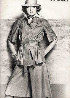 Ted Lapidus, L'Officiel - February Photographed by Rodolphe Haussaire Seventies Fashion, 70s Fashion, Vintage Fashion, Christian Dior, Ted Lapidus, Pantalon Large, Office Attire, Skirt Pants, Sports Women
