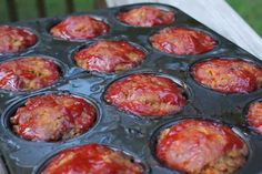 Meatloaf Muffins cooked in a muffin tin. Perfect for a weeknight dinner since they cook in just 25 minutes!