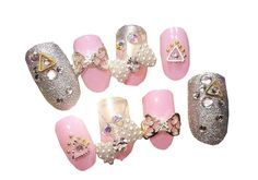 Pink Fake Diamond Decorated False Nails With Gum 24 Pcs >>> See this great product.