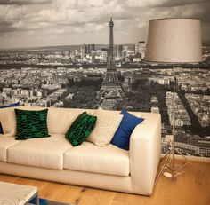 Contemporary Living Room with Paris Wallpaper Murals Design Setting Paris Living Room Wall Murals Theme