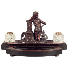 Early 20th Century French Inkwell | From a unique collection of antique and modern desk accessories at https://www.1stdibs.com/furniture/decorative-objects/desk-accessories/