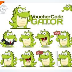 Create a friendly alligator for a coupon website by ROCKER.