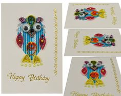 Happy Birthday and Best Wishes Card Quilling Owl blank by vitbich