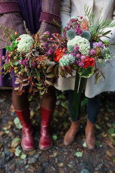 Terra and Dominique's beautiful bouquets. See their amazing photos by Tracie Howe here... @intimateweddings.com #bouquets #elopements #rustic  #realweddings