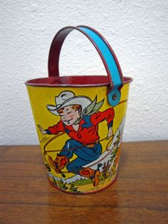 Vintage Sand Pail - these are a few of my favorite things - summer, cowboys and the beach!