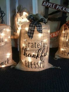 These lighted burlap sacks add just the perfect light to any room for that warm and cozy feeling. Each lighted burlap sack is handmade, and accented with a homespun tie. Burlap Christmas, Christmas Bags, Christmas Crafts, Christmas Decorations, Cottage Christmas, Christmas Ideas, Xmas, Country Farmhouse Decor, Country Crafts