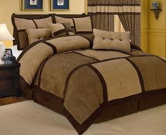 11-PC Comforter Sheet Set Brown Micro Suede King Size Bed in a Bag New