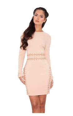 b4732431cc House of cb Anuki Nude Long sleeve dress with chain detail Dresses Uk
