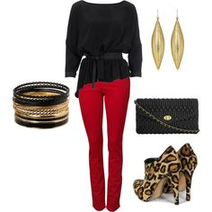 IN- This is a great outfit for a night on the town. Red is totally one of my favorite colors and I love the red skinny pants featured in this outfit. I'm a huge fan of the leopard boots. They are hot! I love the earrings, bangle, and clutch as well. Very fun outfit for a fun night out on the town!